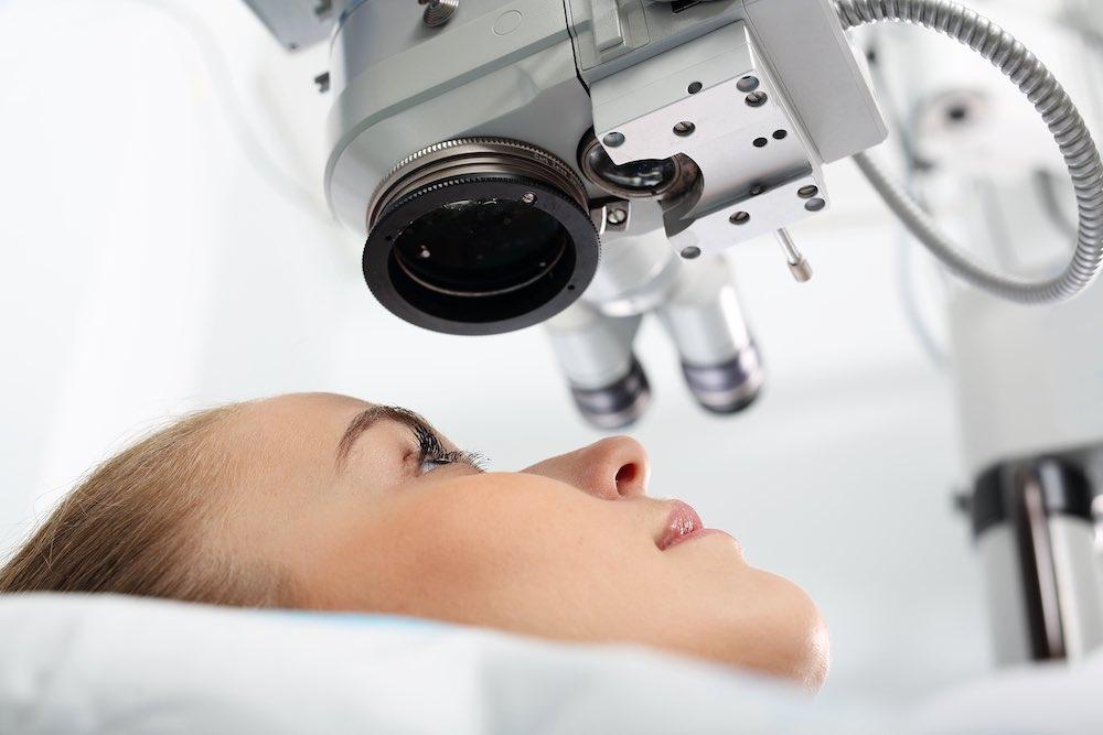woman under eye test equipment