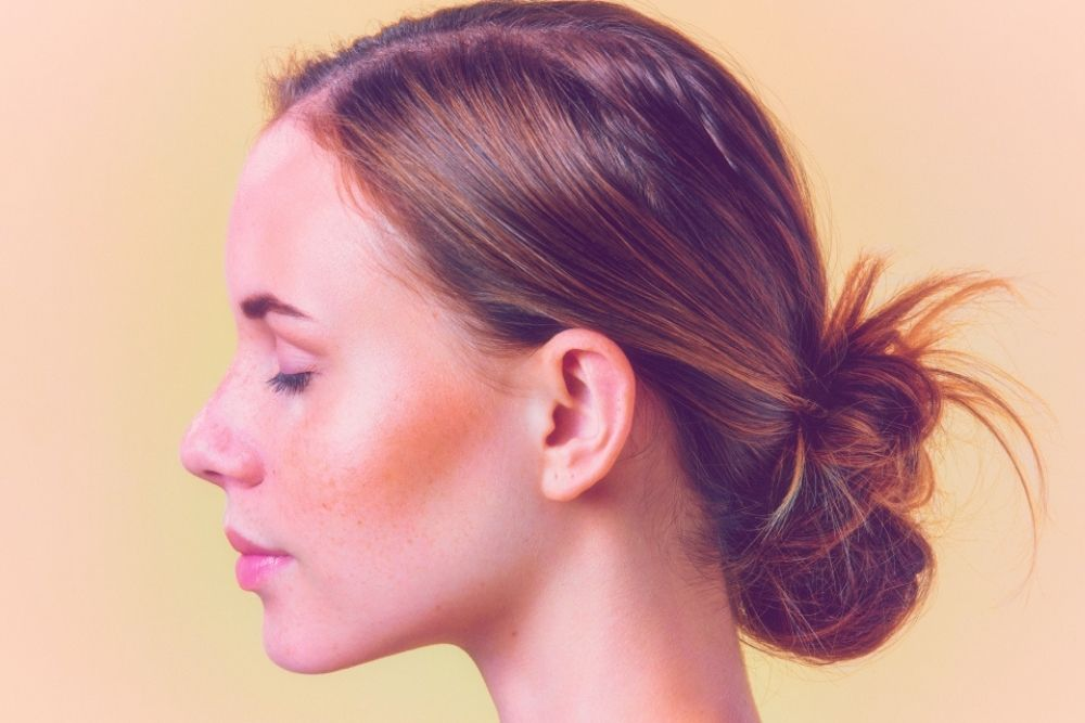 side view of a woman's face