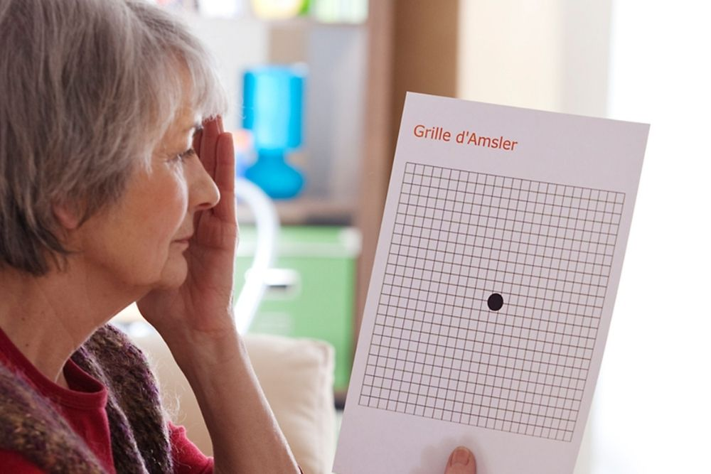 middle aged woman doing a home vision test