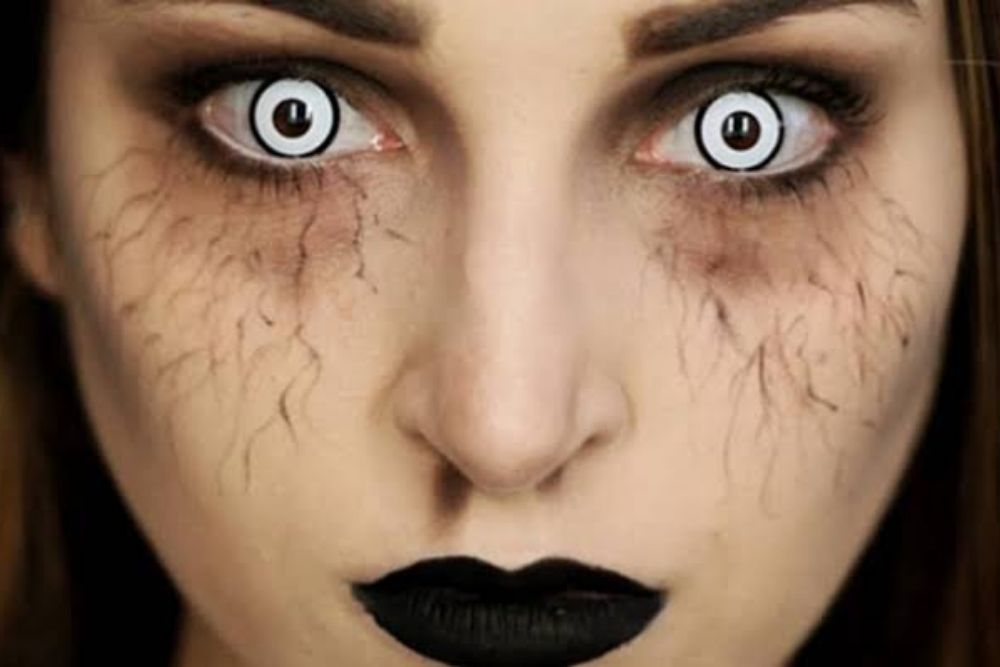 spooky contact lens on woman