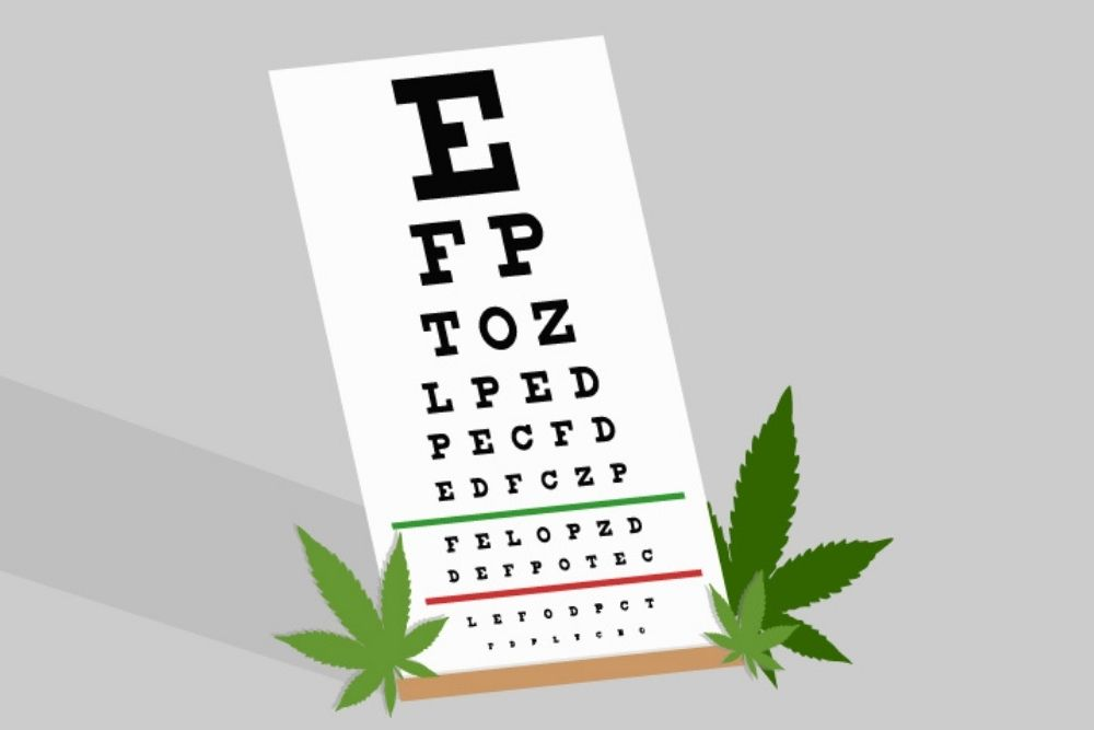 marijuana beside snellen chart