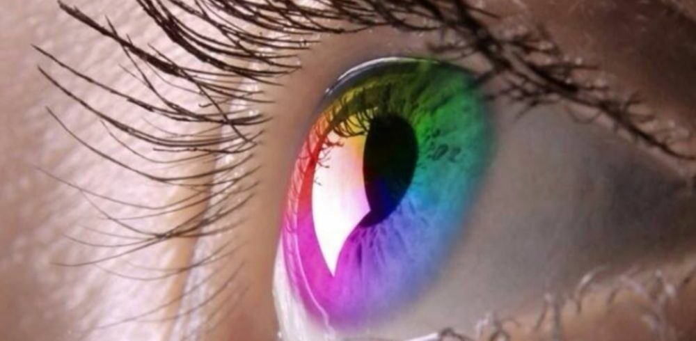 different colors reflecting on the human eye