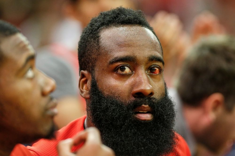 james harden with red eye
