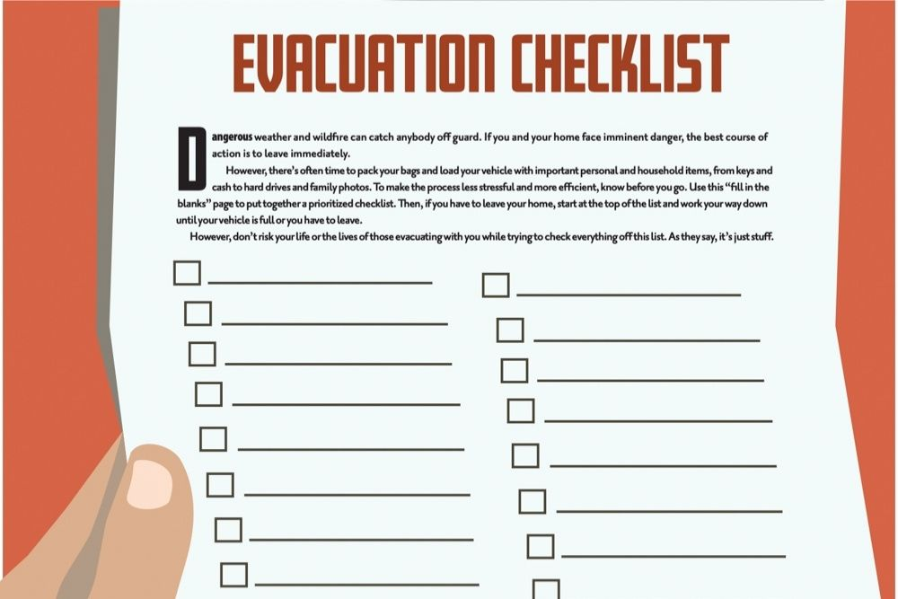 why are eyeglasses and medication a part of the evacuation checklist